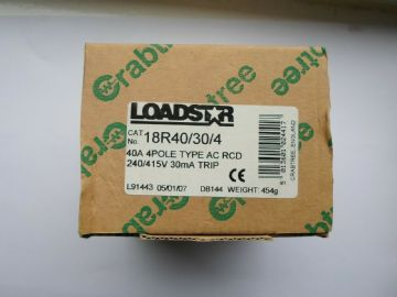 CRABTREE LOADSTAR 40 AMP 30mA 18R40/30/4 RCD CIRCUIT BREAKER